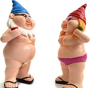 Funny Goblin Naked Gnome Statue Resin Peeing Dwarf Naughty Garden Gnome Statue for Home Any Garden Decorations 2pcs(boy+Girl)