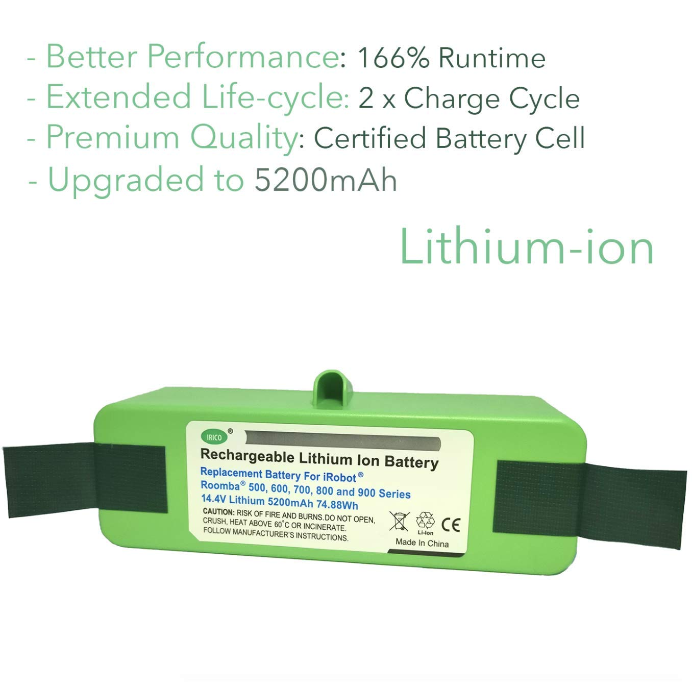 IRICO iRobot Roomba Replacement Battery Lithium 5200mAh for Roomba 500 600 700 800 900 Series | iRobot Roomba Battery Replacement 980 960 890 880 870 860 850 805 790 780 770 690 655 650 645 595 580 by IRICO