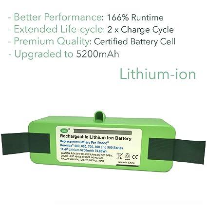 Amazon.com: IRICO Batería de repuesto de litio Roomba para ...