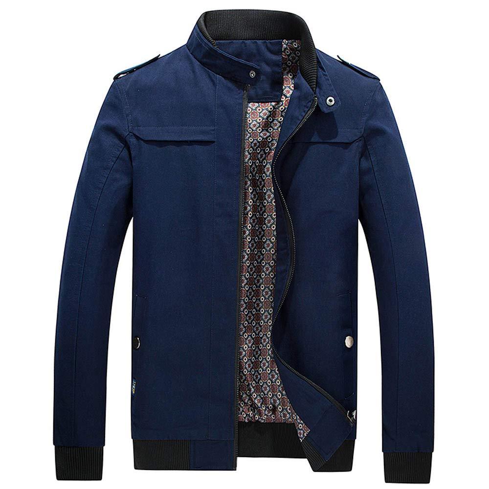 GREFER Clearance Men Winter Jacket Long Sleeve Warm Full Zip Pocket Slim Coat Outwear