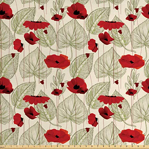 Ambesonne Poppy Fabric by The Yard, Sketchy Tree Leaves with Rural Floral Growth Botany Nature Inspired Art, Decorative Fabric for Upholstery and Home Accents, 3 Yards, Scarlet Fern Green Beige