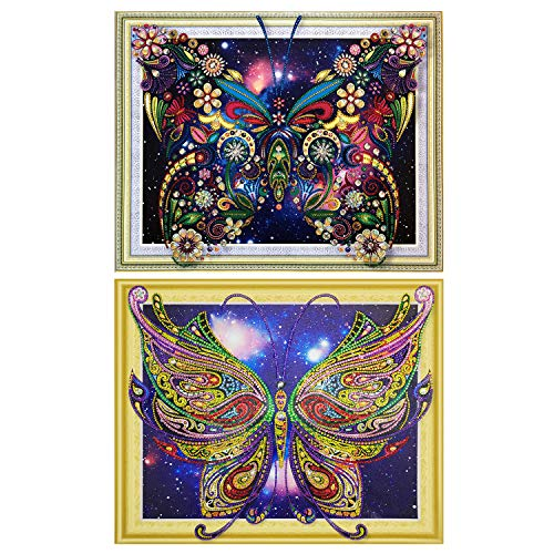 2 Pack 5D DIY Diamond Painting Sets for Adults Special Shaped Diamond Painting Butterfly Rhinestone Diamond Home Wall Decor for ()