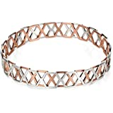 Fiorelli Silver Rose Gold and Rhodium Plated Hexagonal Bangle