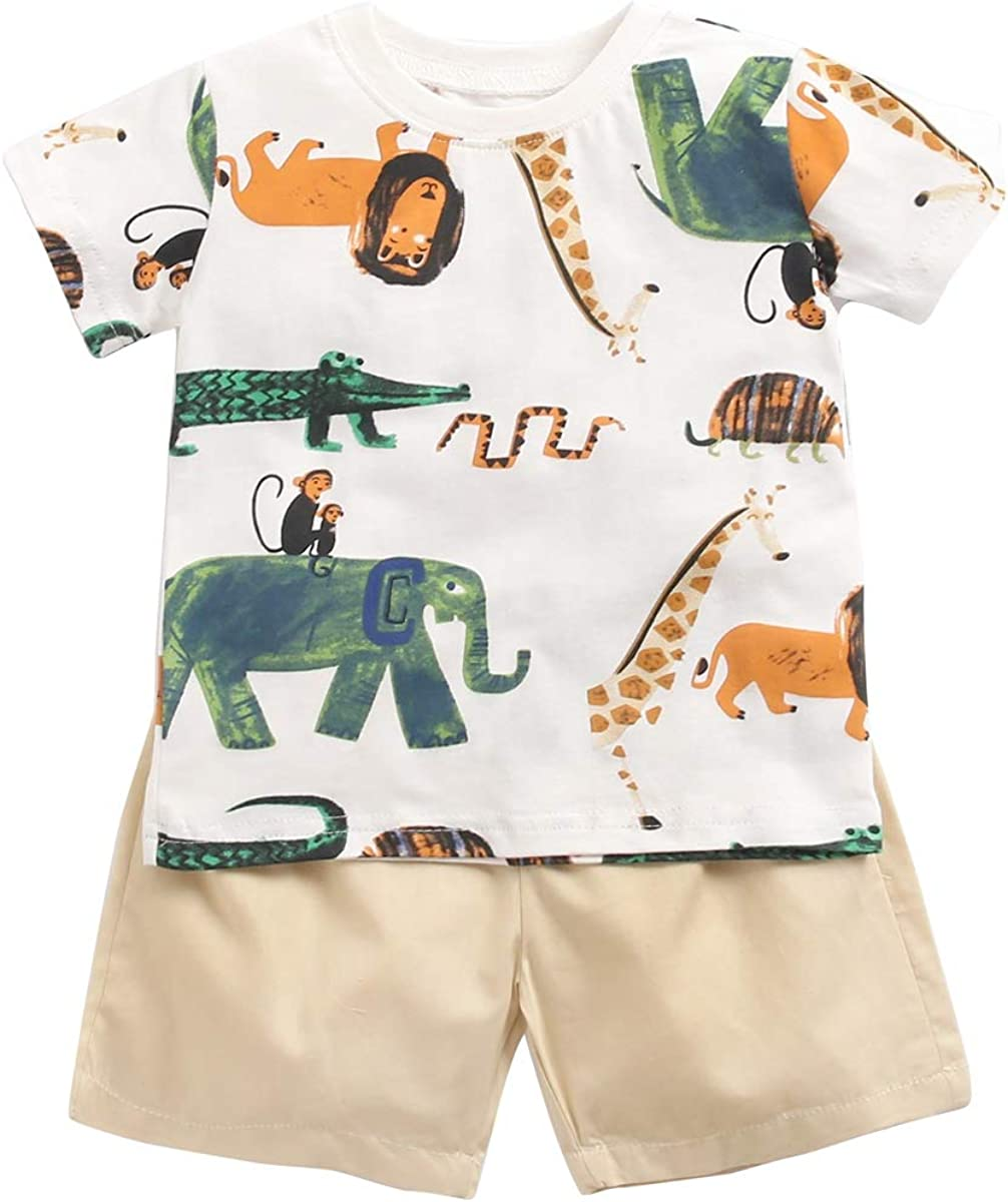 Sanlutoz Cotton Baby Boy Clothing Sets Summer Cartoon Newborn T-Shirt+Shorts 2pcs