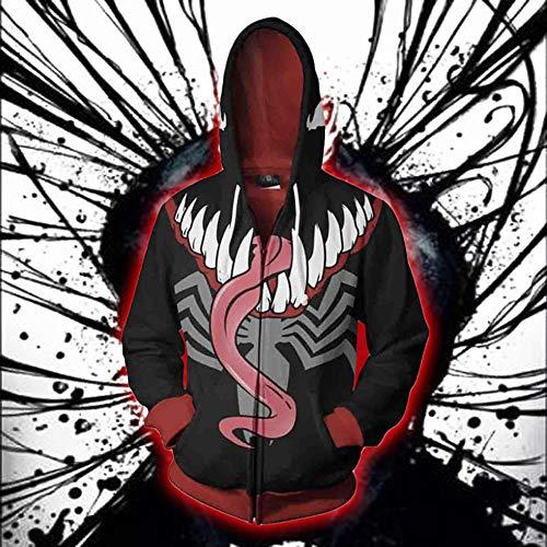 1 Sweat Cool Manteau Sweat Super Zippé Tops nbsp;pcs Man Venom shirt Fermeture Éclair Taille Héros Homme Guapo Capuche Spider L Veste man Funny Cosplay À Pour Fernando 8C50qW