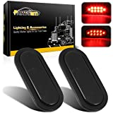 Partsam 2Pcs 6 Inch Oval Red Led Trailer Tail Lights 10 Diodes Smoke Lens Stop Brake Turn Lights Grommet and Pigtails Submers