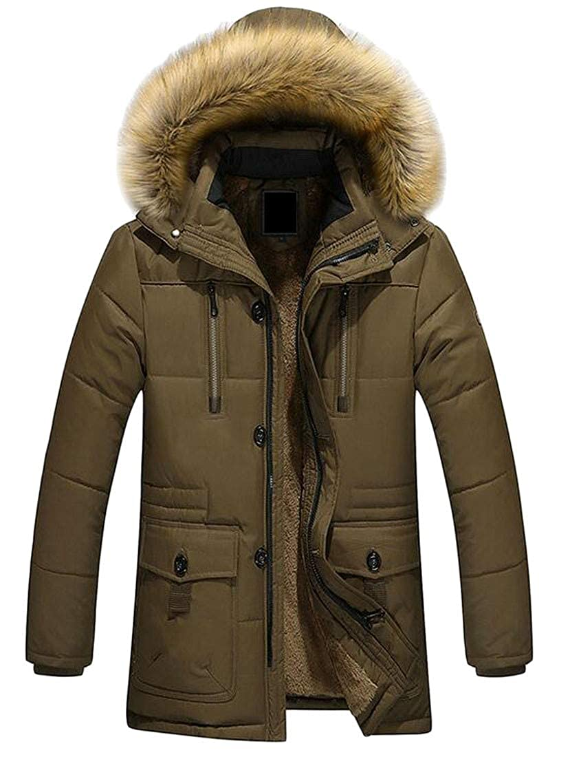 Lutratocro Mens Plus Size Hooded Faux Fur Lined Quilted Fleece Pocket Jacket Anoraks Parka Coat