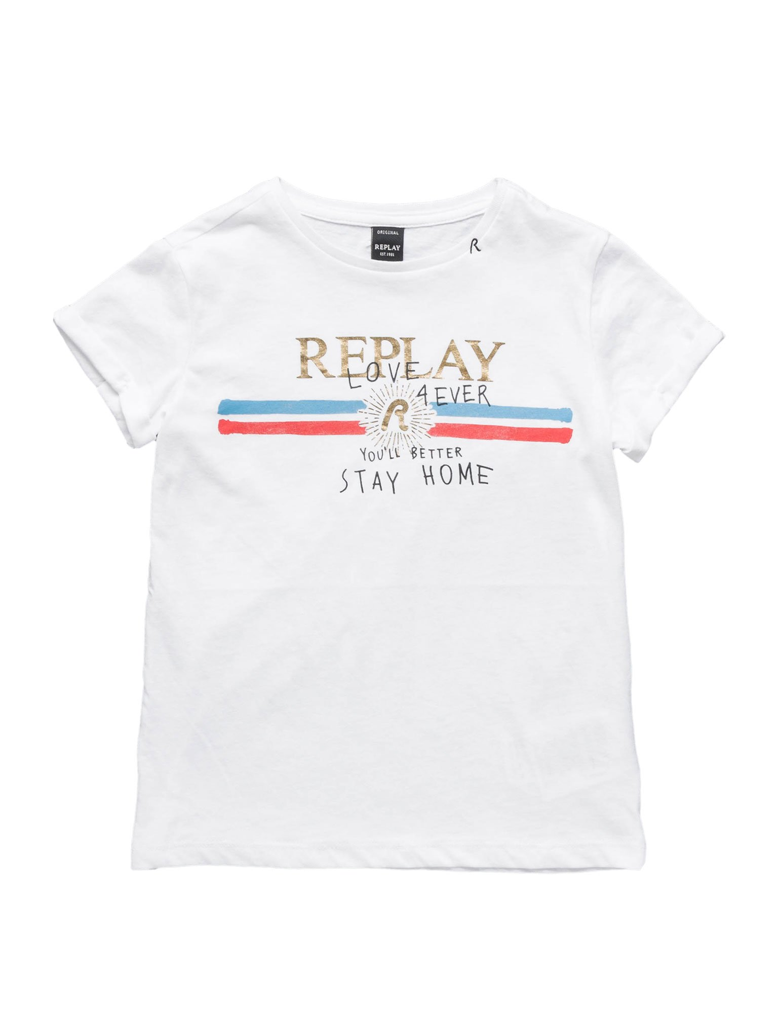 Replay Printed Cotton Girl's Jersey White T-Shirt In Size 12 Years White