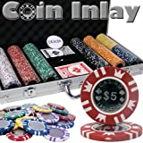 300 Ct Coin Inlay Poker Chip Set w/ Aluminum Case 15 Gram Chips by Brybelly