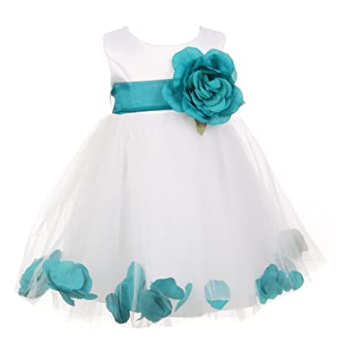 578977b5ab Cinderella Couture Baby Girls White Teal Petal Adorned Satin Tulle Flower  Girl Dress 6M