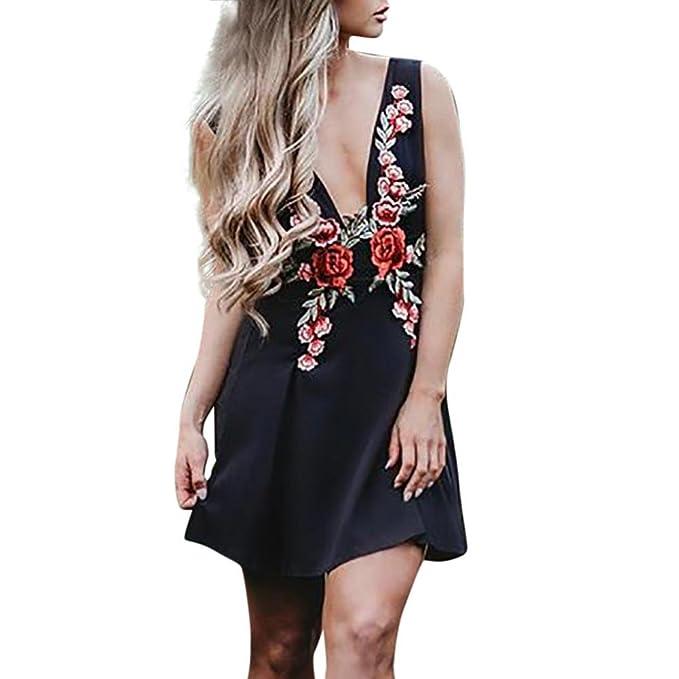 Italily Moda Da Donna Deep-V Sexy Vestito Senza Maniche Floreale Ricamo  Appliques Mini Vestito 2a55b7790ca