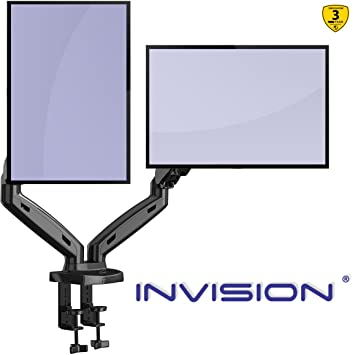 Awe Inspiring Invision Dual Monitor Mount Arm Ergonomic Height Assisted Gas Powered Full Motion Dual Arm Desktop Clamp Pc Mount For 1727 Screens Adjustable Home Interior And Landscaping Mentranervesignezvosmurscom