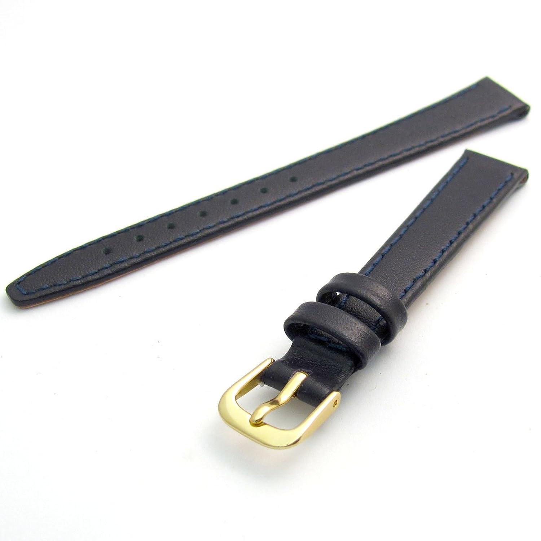 Condor Kalb Leder Uhrenarmband Damen Dunkelblau 14mm vergoldet (Gold Farbe) Schnalle und gratis Spring Bars 124r.05