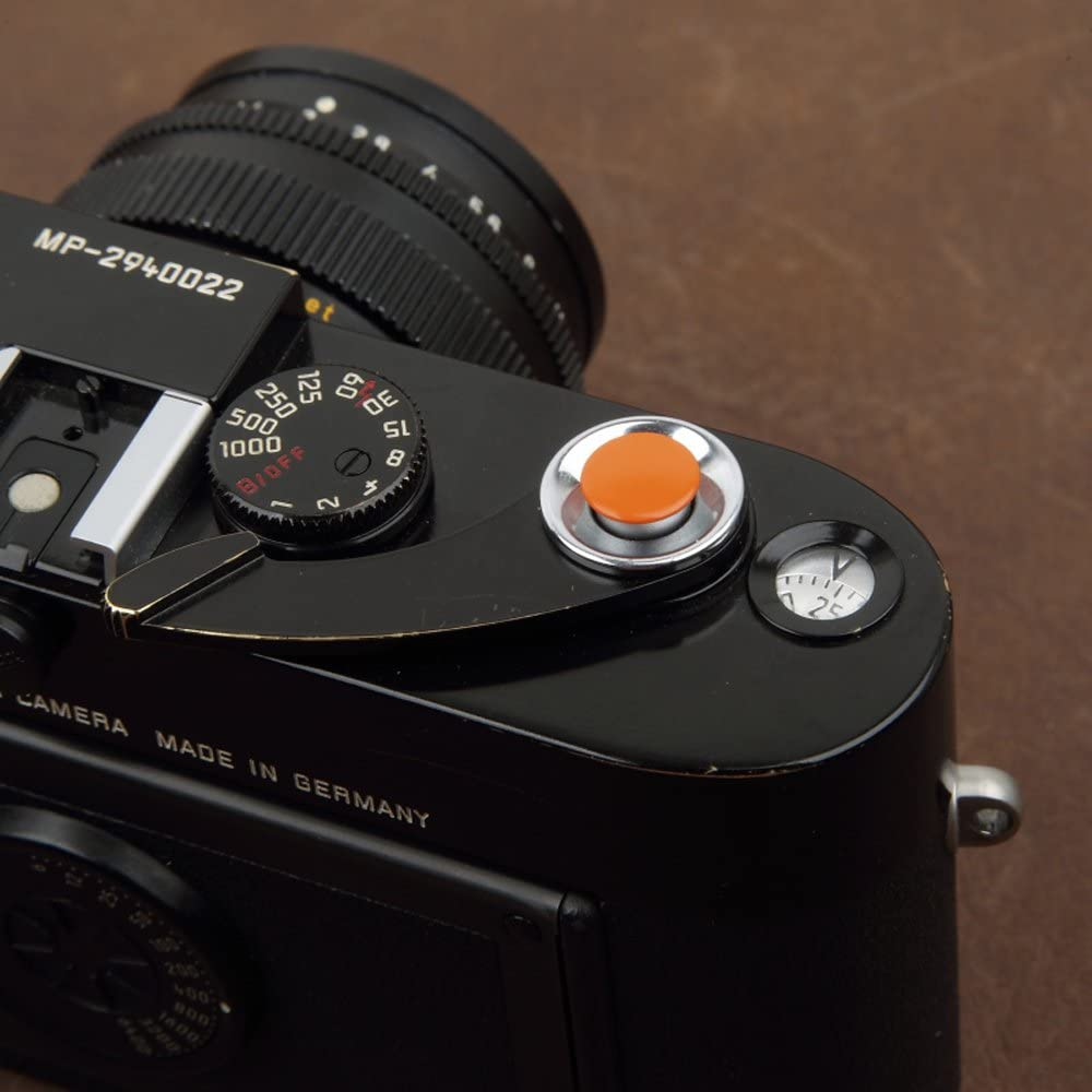 VKO Soft Metal Shutter Release Button Brass Compatible with Fujifilm X-T30 X-T3 X100F X-T20 X-PRO2 X-T2 X30 X100S X-E2 X-T10 X-E3 Pen-F Camera Black Red Dark-red Orange 10mm Convex Surface 4 Pack