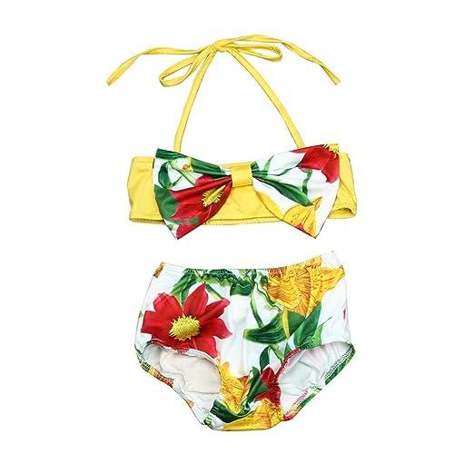 2df6252e1e370 Amazon.com  Moonker Hot Sale Kids Swimsuit! Toddler Baby Girl Floral  Tankini Two Piece Bikini Set Bathing Suit 2-6T  Clothing