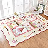 Rugs Area Rund tatami mats creeping mats household use bedside 100% cotton bedroom lovely rectangle wall-to-wall machine washable-A 160x210cm(63x83inch)