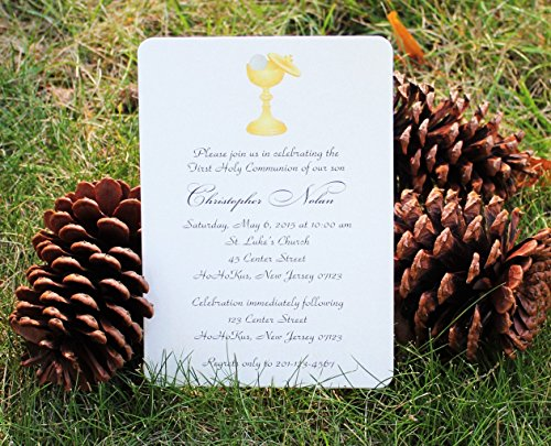Set of 10 Boy or Girl Chalice Communion Party Invitations - All Wording ()