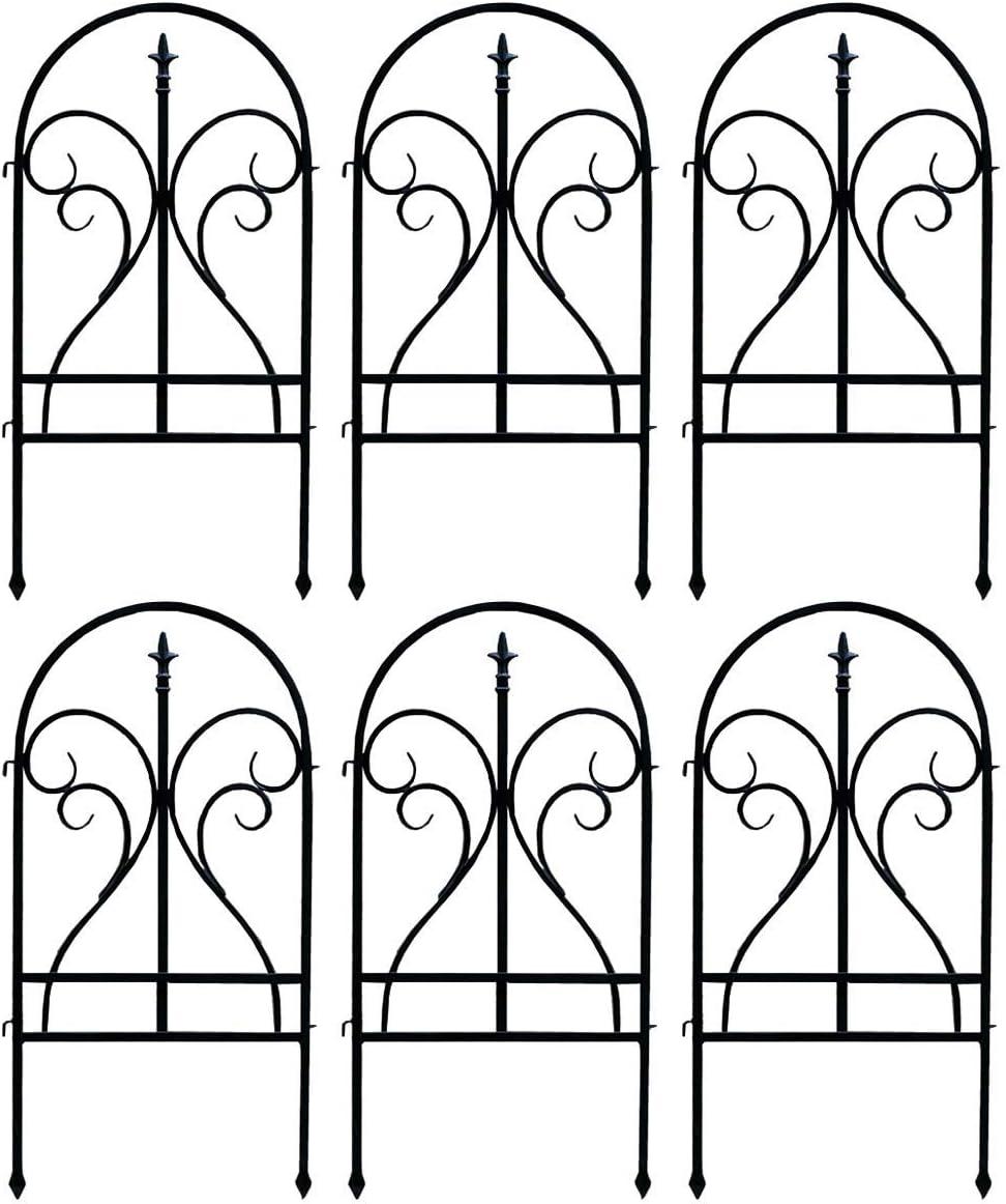 フェンス ガーデン セット ラティス 高さ 90cm 目隠し アイアン シェード 花壇 6枚組, ブラック