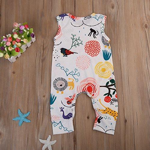 Newborn Baby Boys and Girls Sleeveless Bright Animal Printed Romper Jumpsuit