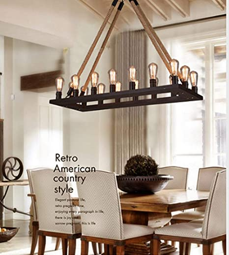 Amazon.com: RUXUE - Lámpara de techo rectangular con cadena ...