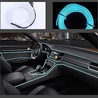 Neon LED EL cable para interior automotriz Cosplay lámpara de línea electroluminiscente LED emisora de luz decorativa con unidad de tira de luz 5V Ice ...