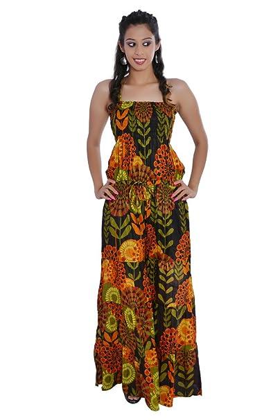 06608c9b3299 Jaipur Kala Kendra Women s Cotton Printed Long Jumpsuit Dress Medium Black