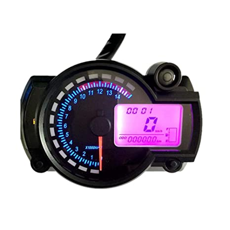 WonVon Motorcycle Digital Speedometer,7 Color Display 5000rpm Motorcycle  Universal LCD Digital Speedometer Tachometer Odometer Gauge Odometer