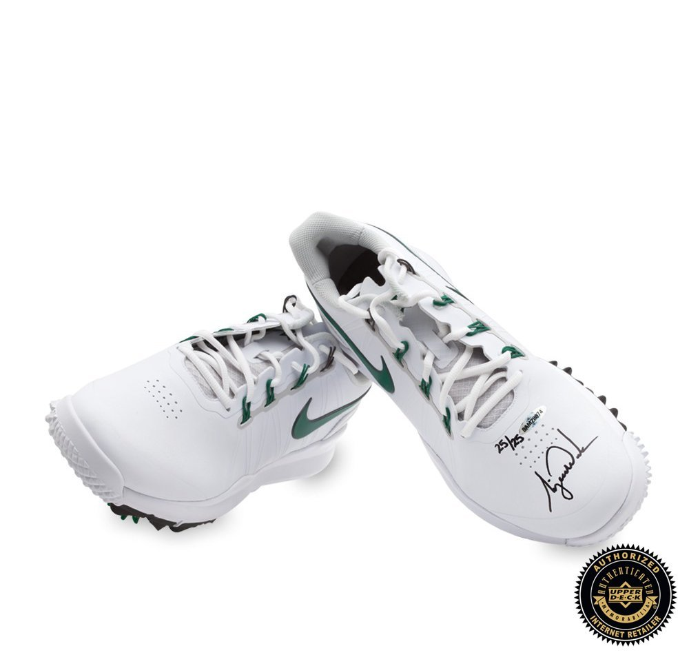 Tiger Woods Autographed/Signed Nike TW14 Golf Shoes - Green & White - LE