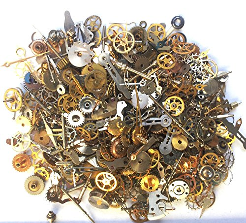 s and pieces - 25g 700 plus pieces of TEENY TINY vintage and antique gears, cogs, wheels, hands, crowns, stems, etc. ()