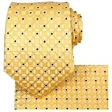 KissTies Gold Yellow Tie Set Fortunate Lucky Necktie + Pocket Square