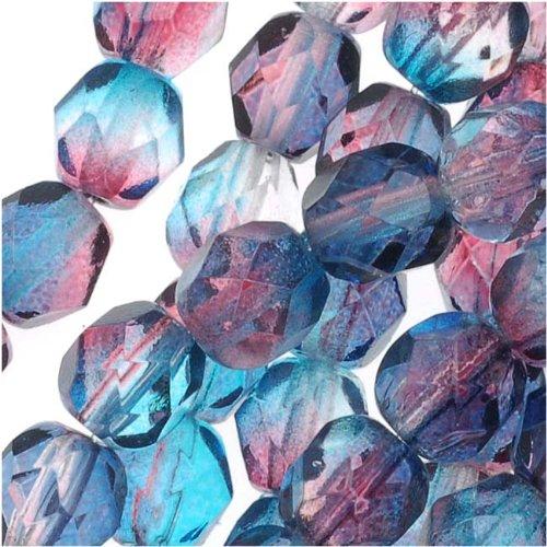 Jablonex Czech Fire Polished Glass Beads 6mm Round Two Tone Teal/Fuchsia (25)