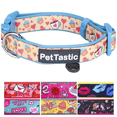 Best Adjustable Small Dog Collar - PetTastic Durable Soft & Heavy Duty with Cute Valentine's Day Design, Outdoor & Indoor use Comfort Dog Collar for girls, boys, puppy, adults, including ID Tag Ring
