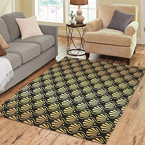 Semtomn Area Rug 3' X 5' Abstract Golden Pattern Beautiful Black Composition Craft Fan Feather Home Decor Collection Floor Rugs Carpet for Living Room Bedroom Dining Room