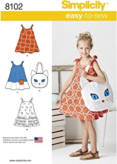 product image for Simplicity 8102 Girl's Cat Tote Bag and Sundress Sewing Pattern, Sizes 3-8