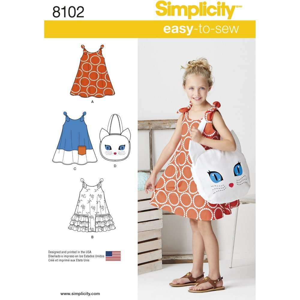 Simplicity Creative Patterns Simplicity Patterns Childs Easy-to-Sew Sundress and Kitty Tote Size: A 8102 3-4-5-6-7-8