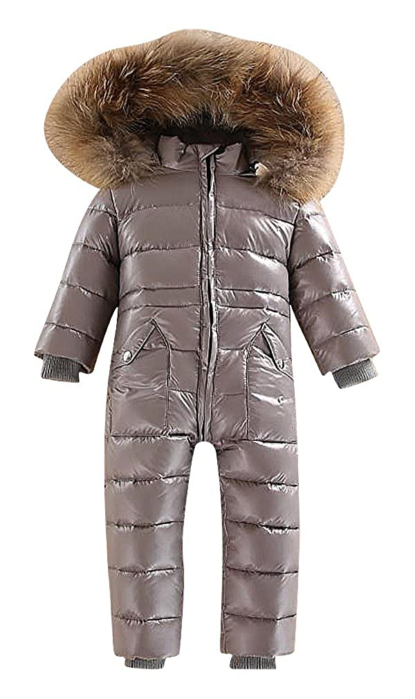 BPrince Kids Solid Color Quilted Thick Fur Lined Hood Zip Up Duck Down Snowsuit