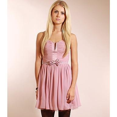 Lipsy Pixie Lott Embellished Prom Dress Rose Pink - UK 14