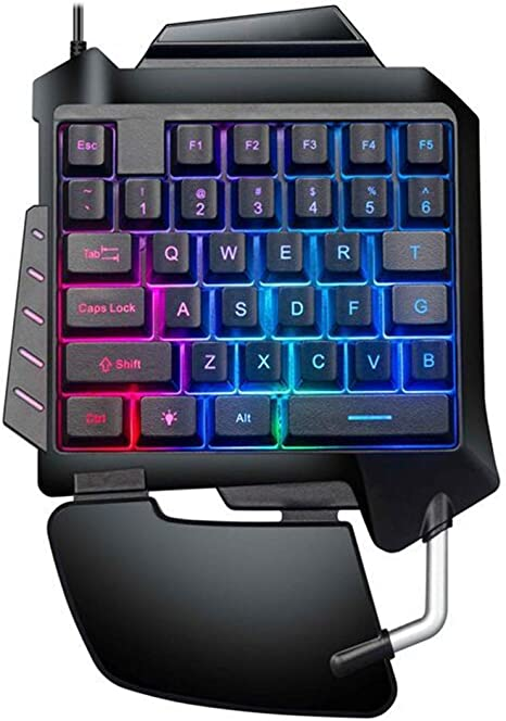 chenpaif Teclado, Teclado mecánico para Juegos con una Sola Mano Retroiluminación LED portátil Mini Teclado para Juegos
