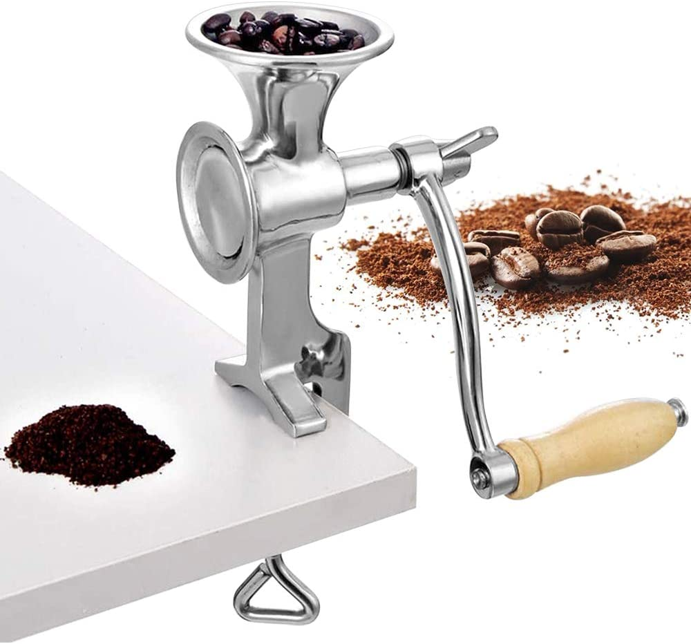 Moongiantgo Manual Grain Grinder Hand Crank Grain Mill Stainless Steel Home Kitchen Grinding Tool for Coffee Corn Rice Soybean Nut Wheat Spice Fodder (7.4cm/2.9inch Caliber)