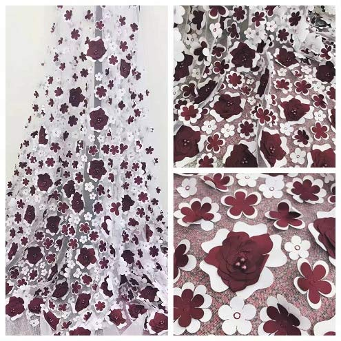 Lace - African Bridal Wedding Decoration Costumes Accessories lace,French Bead lace Fabric for Haute Couture with 3D Applique and pear - (Color: 4 Wine red)