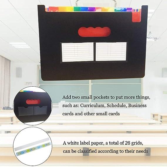Carpeta Clasificadora Archivador acordeón 24 Bolsillos de gran Capacidad soporte Extensible portátil acordeón, Multi-Color Archivador A4 buen ayudante para ...