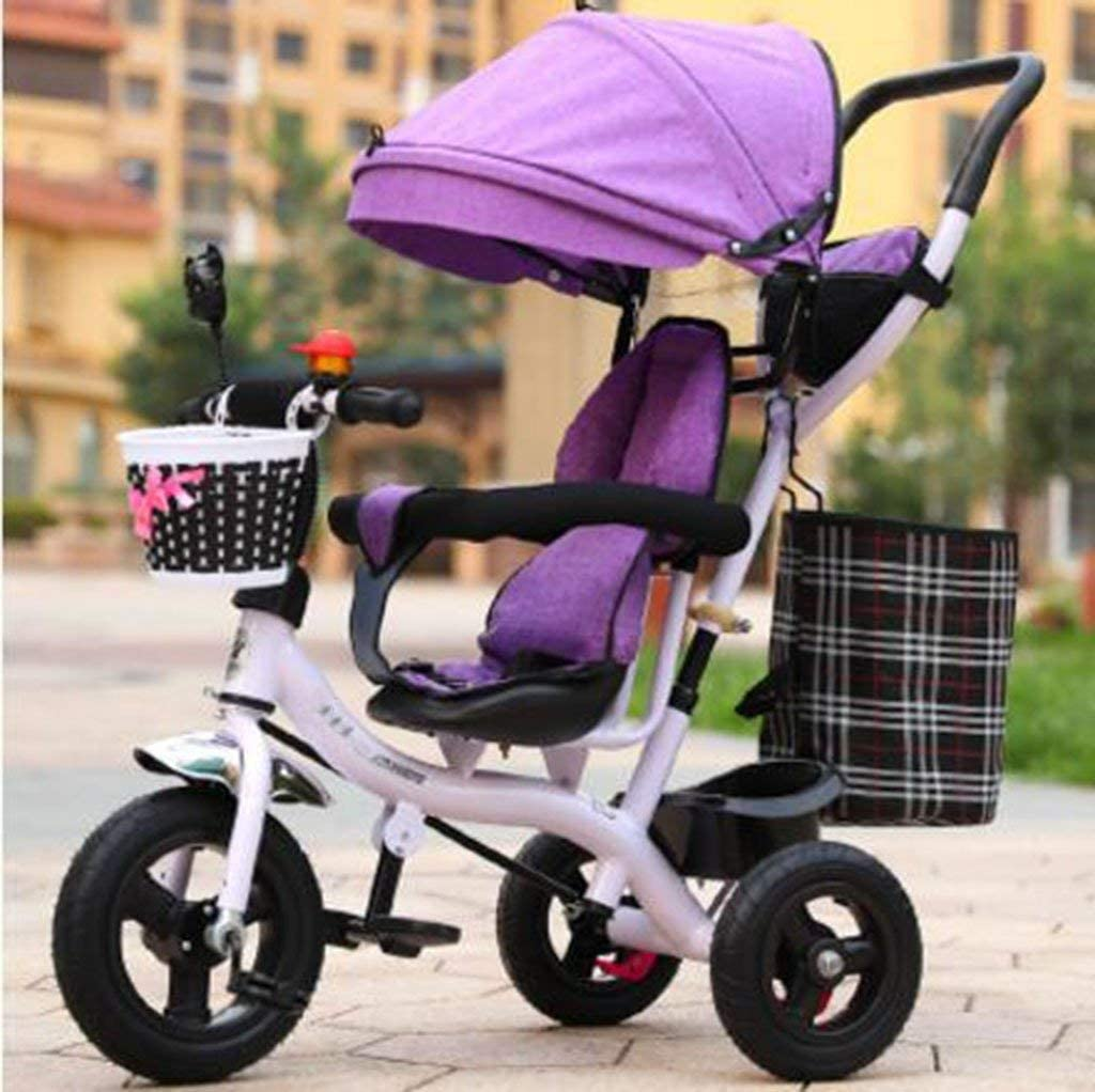 HJTLK Bebé Niños Niños Triciclo Montar en 3 Ruedas Bicicleta Segura con Dosel con manija1-2-3-6 años de Edad Kid Bike Baby Trolley