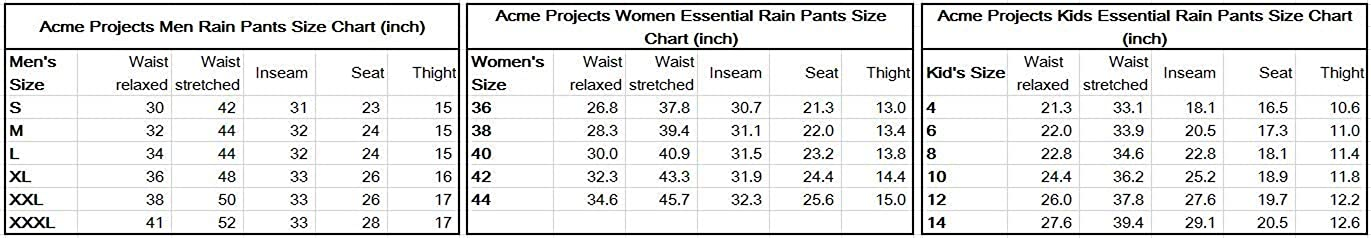 Acme Projects Womens Rain Pants 100/% Waterproof 10000mm//3000gm Taped Seam Breathable