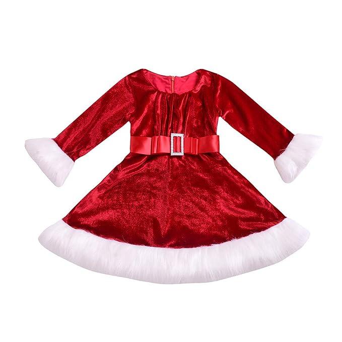 DAYLIN Infantil Niños Niña Navidad Franela Vestidos Rojo Manga Larga  Princesa Vestido Moda Ropa  Amazon.es  Ropa y accesorios 1ff1237ccc9