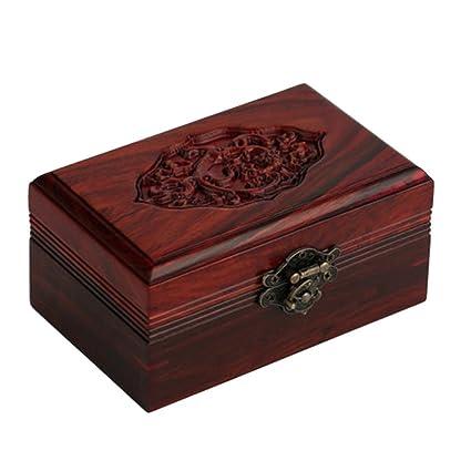 NAN Caja de joyería de talla de madera de palo de rosa caja de madera de