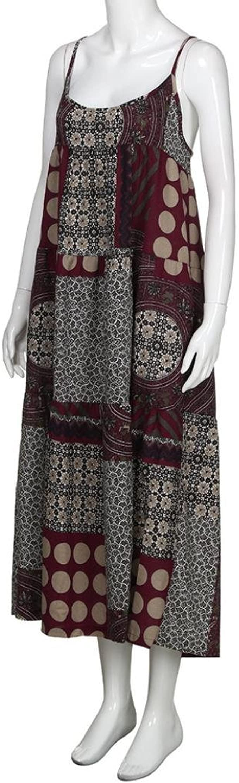 Gray, 2XL Onefa Womens Bohemian Plus Size Dress Vintage Print Sleeveless V Neck Casual Maxi Dress