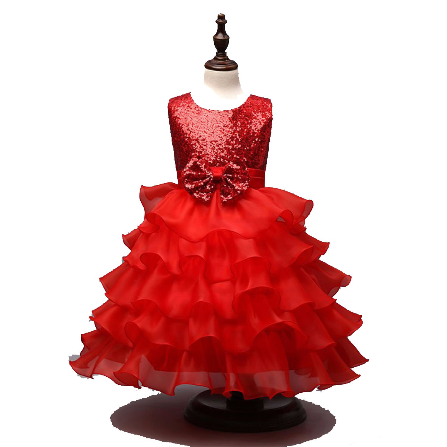 Toping Fine girl dress Holy Communion Dresses for Girl Children Sequined Decoration Daughter Gowns Tiered Flower Girl Dresses,red,Child-6