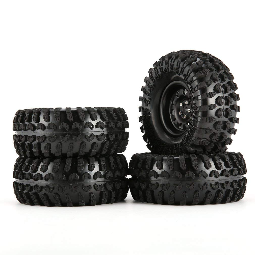 Leoboone 4pcs 130mm 2.2in Rubber Tire with Alloy Beadlock Wheel Rim for AXIAL SCX10 90046 RC4WD D90 1 10 RC Rock Crawler Car