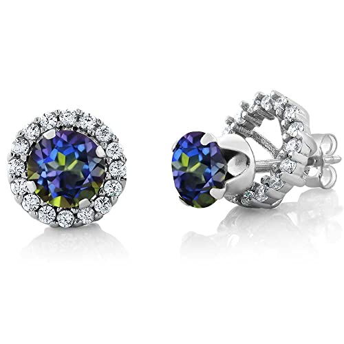 Gem Stone King 1.60 Ct Round 6mm Blue Mystic Topaz 925 Silver Removable Jacket Stud Earrings