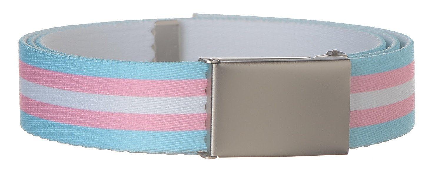 Transgender Flag Print Strait City Trading Mens 1-1//4 wide Military Web Belt